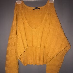 Yellow Long Sleeve Crop Sweater